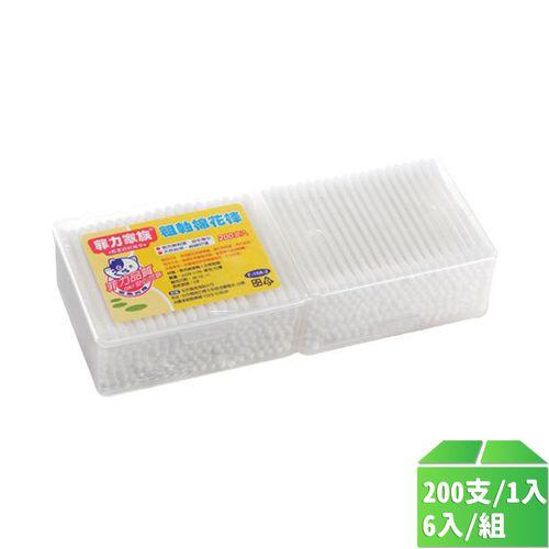 菲力家族-粗軸棉花棒200支2盒組/6入/組